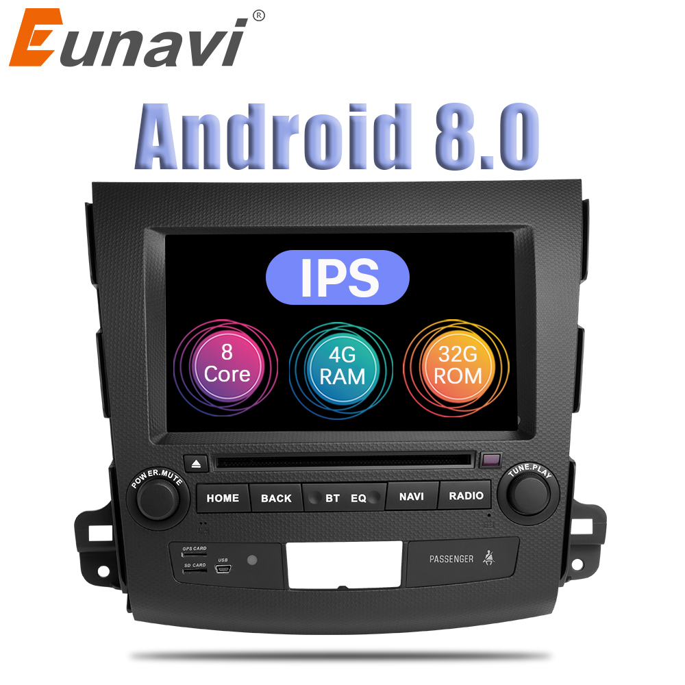 Eunavi 7'' 2 din Android 8.0 Car DVD Radio player for Mitsubishi Outlander 2006-2012 Citroen C-Crosser Peugeot 4007 GPS Stereo
