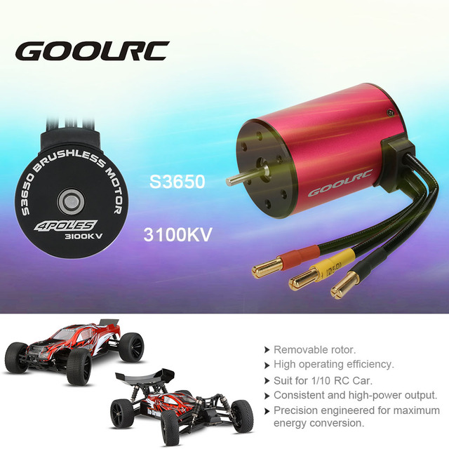 Original High Quality GoolRC Aluminum Alloy S3650 3100KV 4 Poles Sensorless Brushless Motor for 1/10 RC Car Truck Parts