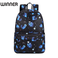 New Waterproof Fabric Women Backpack Cute Cat Animal Pattern Printing Girls College Large Capacity Knapsack