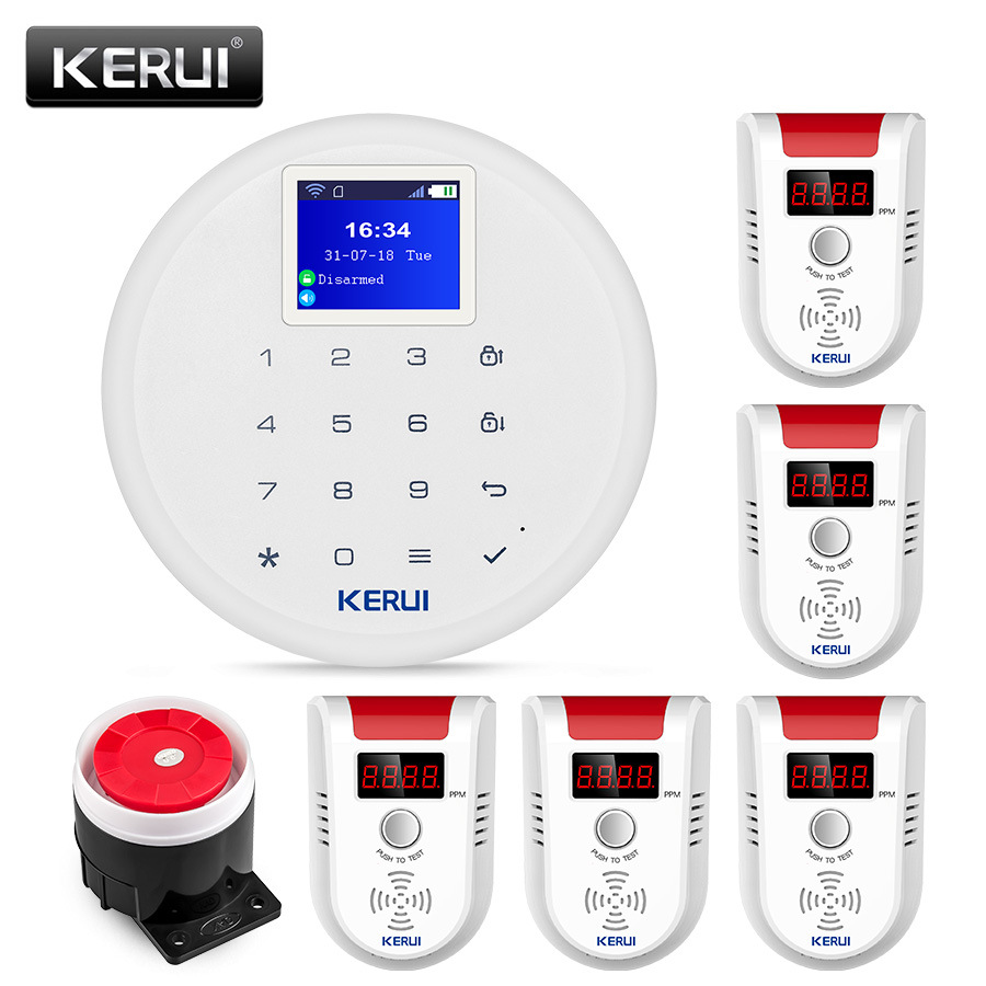 KERUI W17 Wireless WiFi GSM Alarm System Home Security Natural Gas Detector Biogas Coal Gas Sensor Alarm Kit for Kitchen diyseucr qg 02 wireless gas sensor for our related home alarm home security system 433mhz gas detector