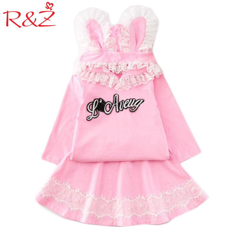 2017 New Girls Autumn Set Korean Sweater + Skirt 2 Pieces Lovely Long Sleeve Hooded Sweat Letter Lace Rabbit Ear Pink Princess