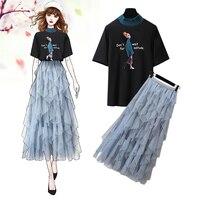 Korean Sweet Fairy Skirt Two piece Set New Women Fashion Cartoon Girl Print T shirt + Blue Mesh Tutu Skirt Set Female Summer