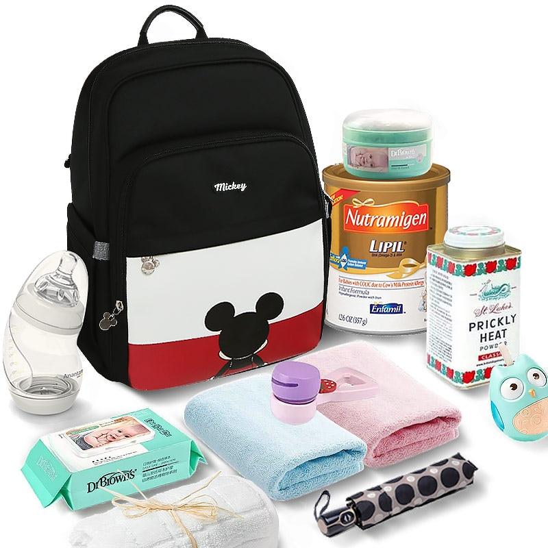 Disney PU cuir bébé sac organisateur fourre-tout USB couches sacs maman sac à dos mère maternité sacs couche-culotte grand sac à couches