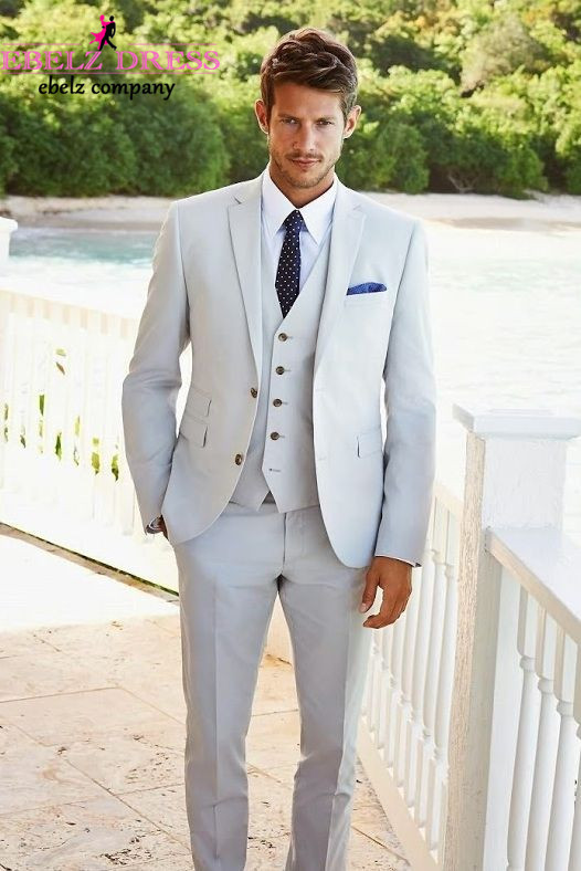 2015 New Design Men Blazer Suit Summer Beige Pure Color Wedding ...