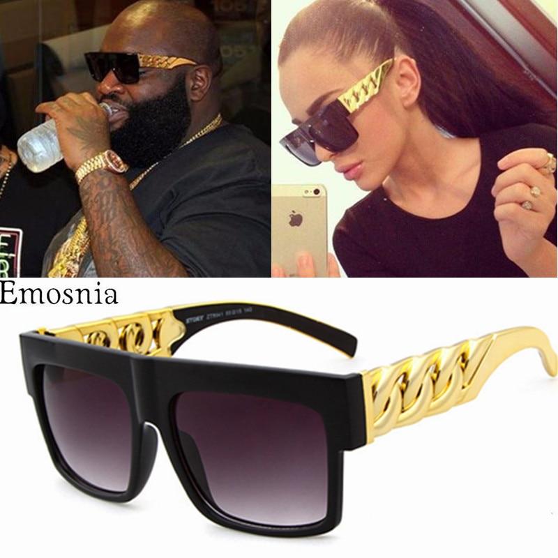 Hip Hop Sunglasses Fashion Gold Metal Chain Square Sun Glasses Celebrity Luxury Brand Designer Women/Men Shades UV400