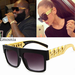 Hip Hop Sunglasses Fashion Gold Metal Chain Square Sun Glasses Celebrity Luxury Brand Designer Women/Men Shades UV400