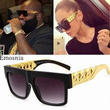 Hip Hop Sunglasses Fashion Gold Metal Chain Square Sun Glasses Celebrity Luxury