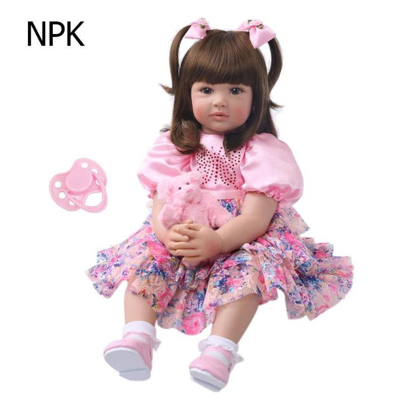 ไวนิล 60 ซมเด็กทารก Reborn เหมือนจริงตุ๊กตาเด็กน่ารัก Playmate ของเล่นเพื่อการศึกษาการเรียนการสอนอนุบาล Aid เด็กพร้อมตุ๊กตา-ใน ตุ๊กตา จาก ของเล่นและงานอดิเรก บน   1