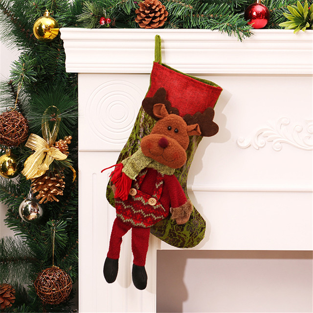 personalized christmas stockings red canvas reindeer bags with leg candy gifts filler socks for christmas tree decorations