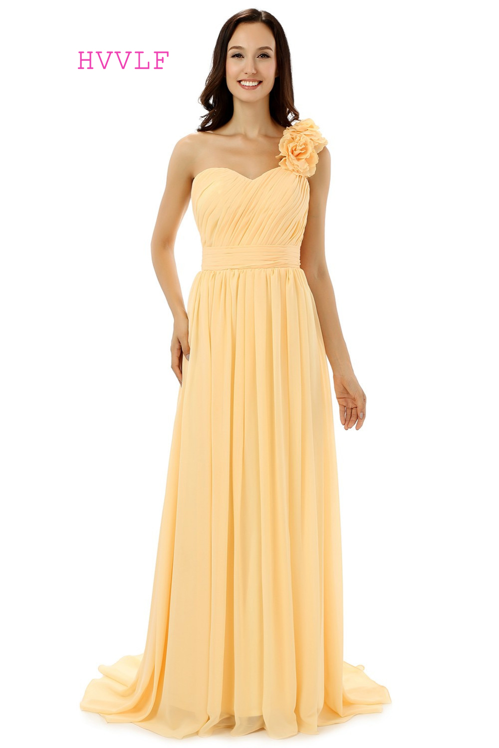 HVVLF 2019 Cheap   Bridesmaid     Dresses   Under 50 A-line One-shoulder Floor Length Yellow Chiffon Wedding Party   Dresses