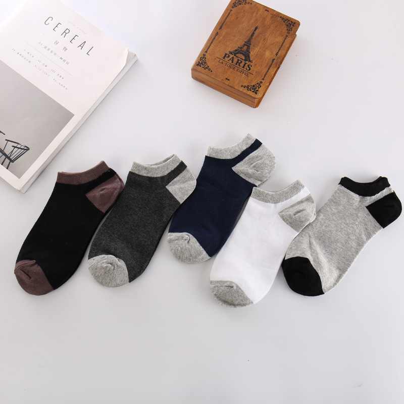 Ixuejie 5 Pairs/lot Patchwork Casual Mens Socks 100% Cotton Sweat and Deodorant Slippers Mens Clothing