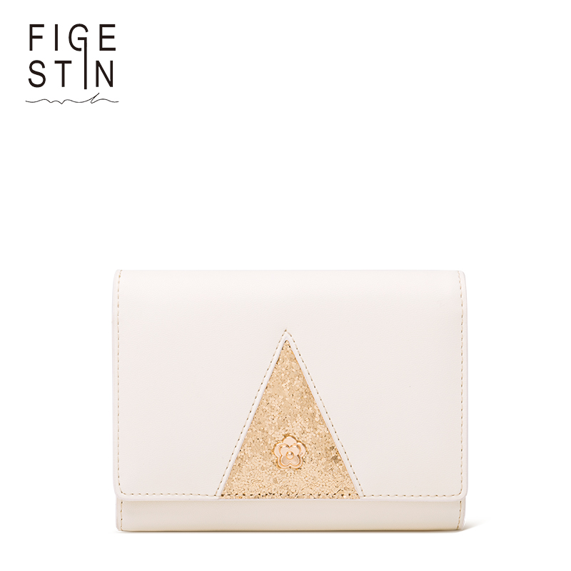 a046ff6e43 Figestin mujer purse Trifold pu Carteras alta calidad moda blanco triángulo  patrón damas cremallera mini monederos original