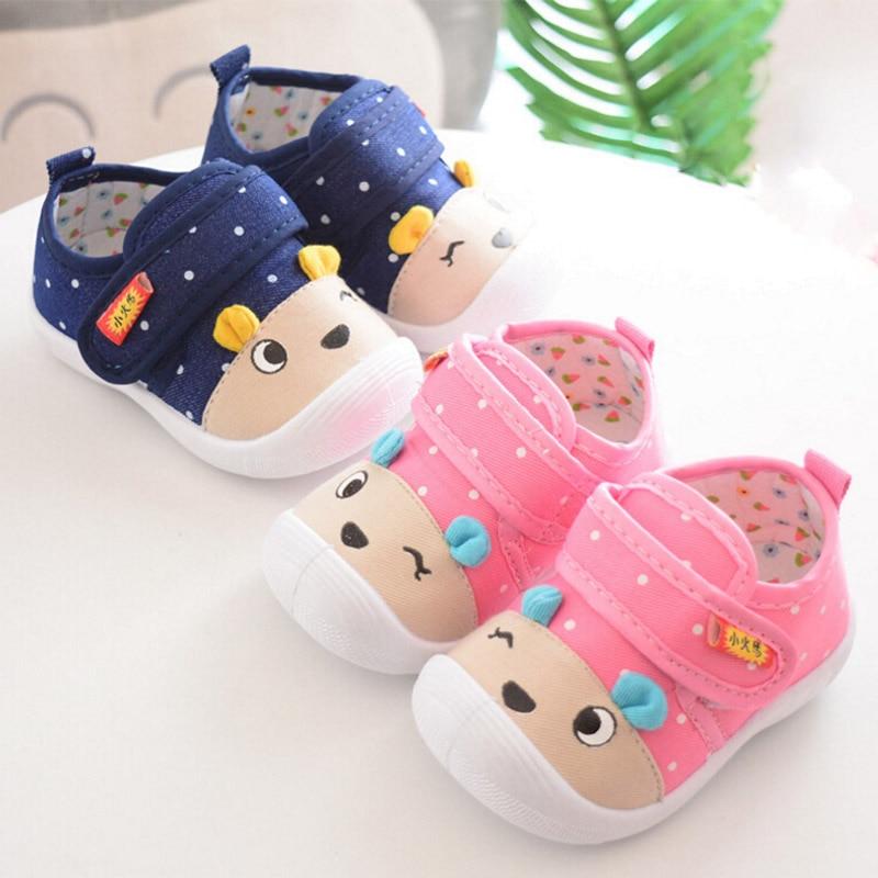 Newborn Cartoon Baby Shoes Autumn Polka Dot Cute Boy Girl First Walkers Sounds Princess