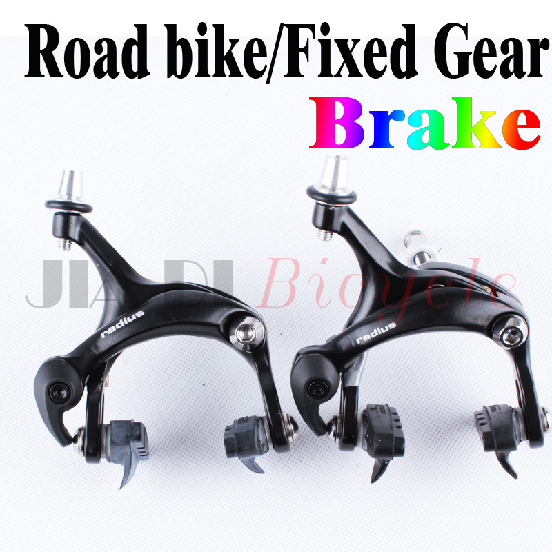 ФОТО 2016 New Road Bike Fixed Gear Brake Clip Clamp Bicycle brakes Fitting Aluminum  Black A Pair of Front