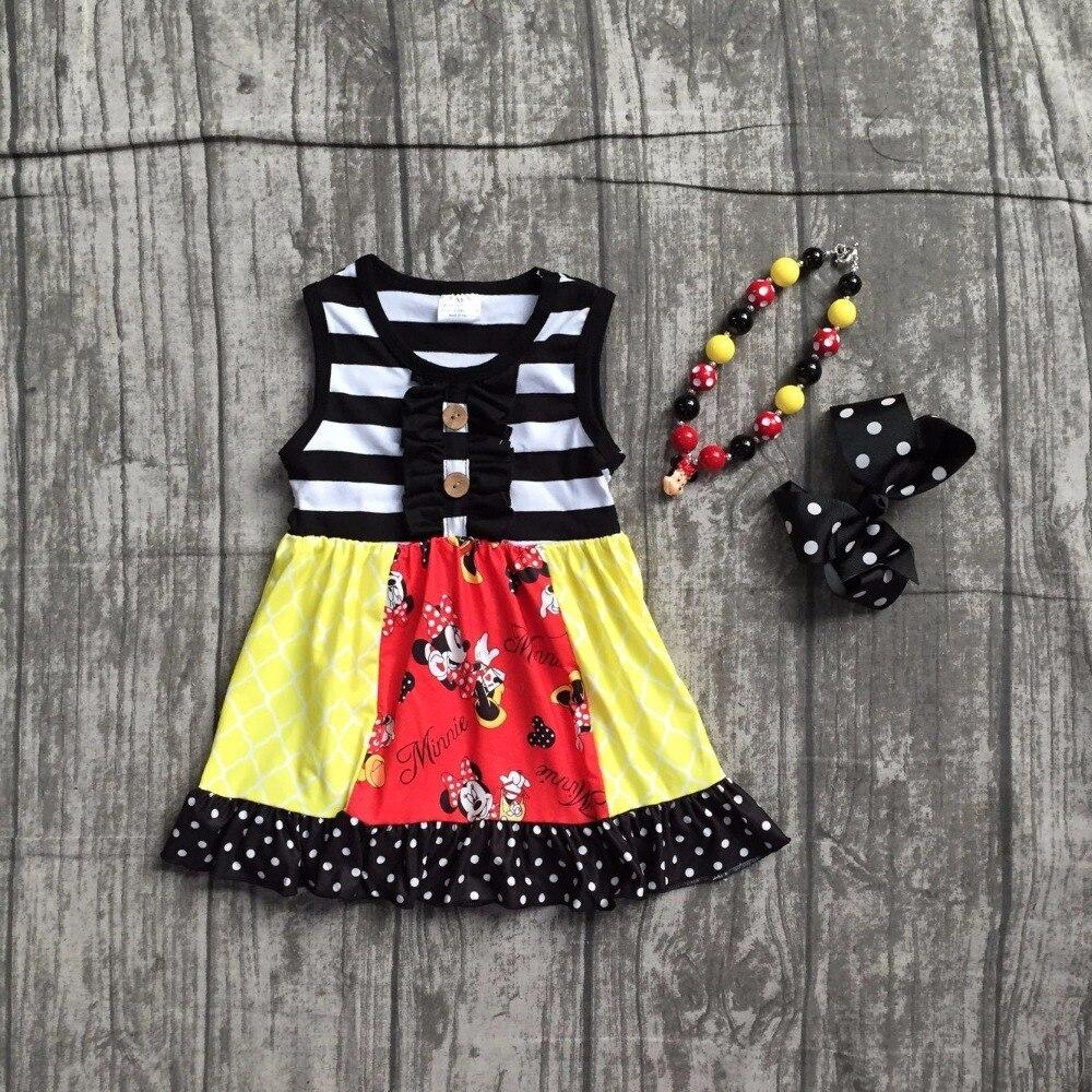 Filles boutique robe enfants enfants minnie robe filles d'été à manches courtes robe vêtements noir rayures robe avec accessoreis