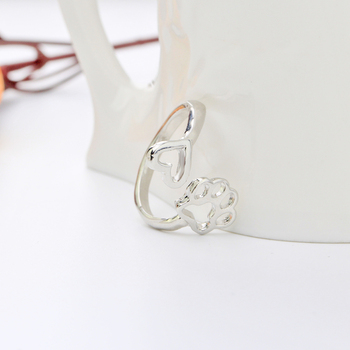 simple adjustable hollow Pet paw prints heart rings women animel Dog Cat lover Ring men Cute Puppy Paw Memorial Ring Jewelry 2