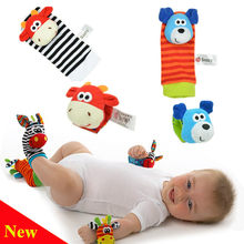 4 pcs/lot Cute Baby Infant Toy Soft Handbells Hand Wrist Strap Rattles/Animal Baby Socks Foot Finders Developmental Toys(China)