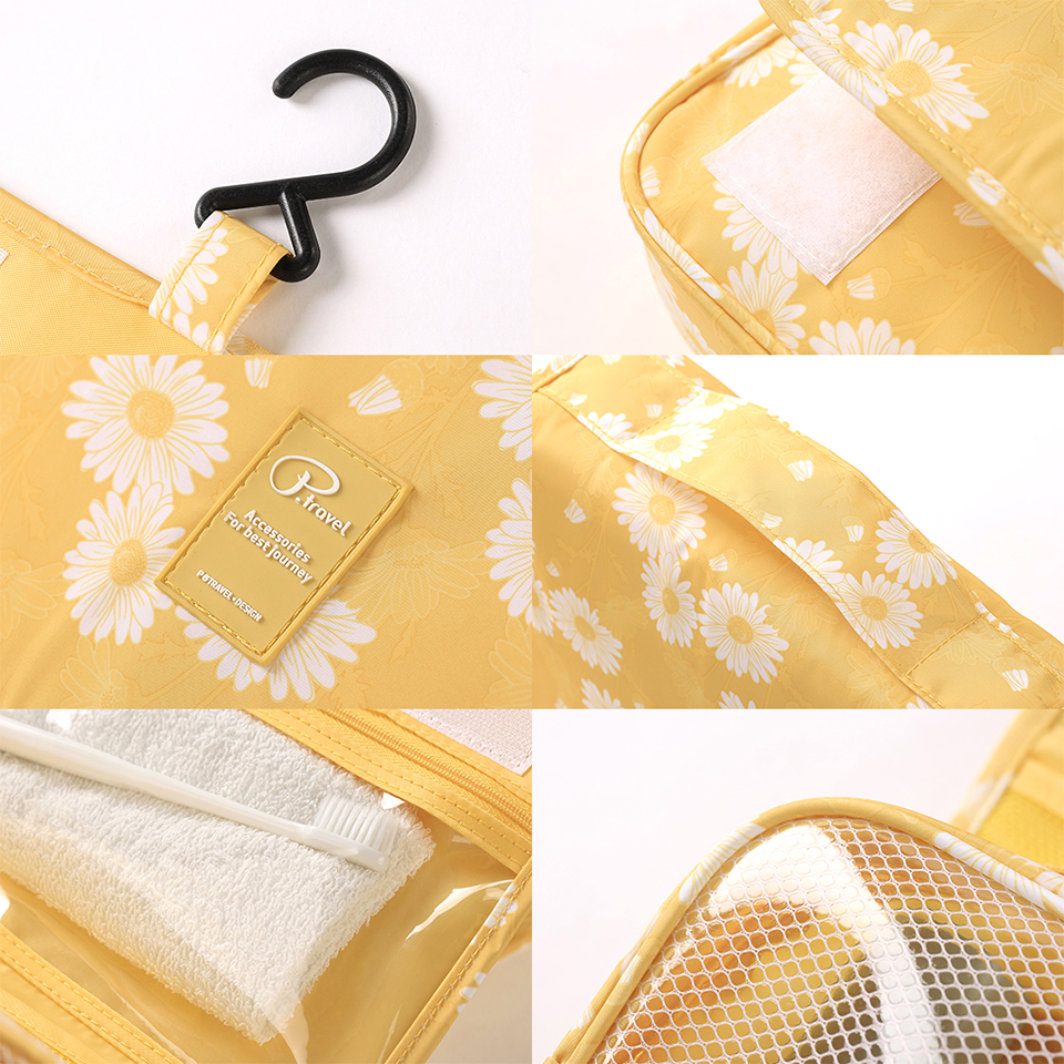 Image 5 - Travel Toiletry Bag, NEW Daisy Yellow Pattern Portable Hanging Travel Wash Bag Foldable Make up Bags with Hook Organizer Bags-in Hanging Organizers from Home & Garden