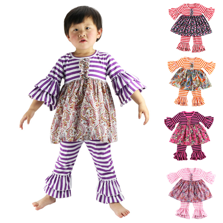 Vêtements enfant et bébé Printemps Design Toddler Clothing Fille Filles Outfits Boutique Stripe Baby Set / Enfants Outfit / pant