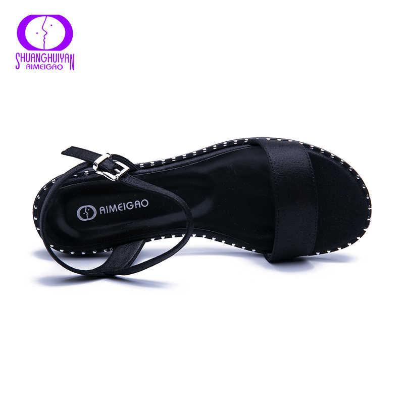 AIMEIGAO 2019 Nieuwe Zomer Sandalen Vrouwen Casual Platte Sandalen Comfortabele Sandalen Voor Vrouwen Grote Maat vrouwen Schoenen