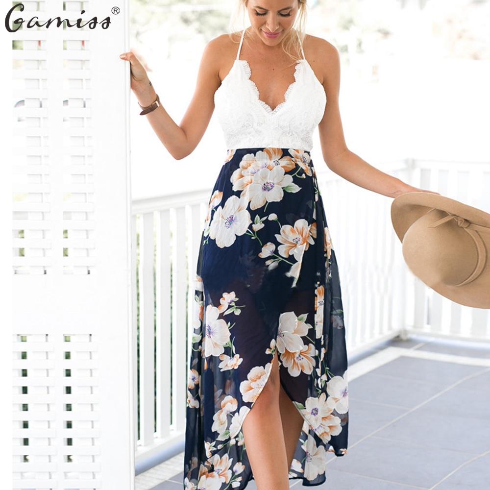 0a2769a57f Wipalo Novas Mulheres de Verão Sexy V Pescoço Mangas Blackless Lace Top  Emenda Floral Impressão Hem irregular Vestidos de Chiffon Praia