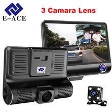 E-ACE Coche Dvr 3 Camara Lente Con Visión Trasera 4.0 pulgadas Dash Cam Video Recorder 170 Grados de Visión Nocturna de la Videocámara registrador