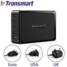 Tronsmart U5PTA Настольное Зарядное Устройство Один Быстрая Зарядка 3.0 USB Зарядное Устройство с четыре USB VoltiQ Быстрое Зарядное Устройство Адаптер ЕС США ВЕЛИКОБРИТАНИЯ Plug