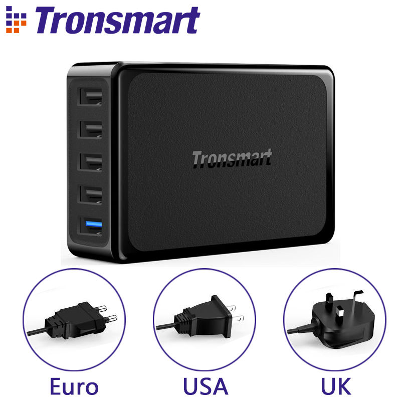 Tronsmart U5PTA Desktop Charger One Quick Charge 3.0 USB Charger with Four USB VoltiQ Fast Phone Charger Adapter EU US UK PlugTronsmart U5PTA Desktop Charger One Quick Charge 3.0 USB Charger with Four USB VoltiQ Fast Phone Charger Adapter EU US UK Plug
