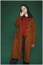Winter New Fashion Streetwear High-quality Woolen Coat Blends Women's Long Coats Cartoon Cow Embroidery Brow