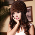 2016 Women's Genuine Real Knitted Mink Fur Bomber Hats Female Winter Caps Ear Warmers Fashion Headgear  VK2007