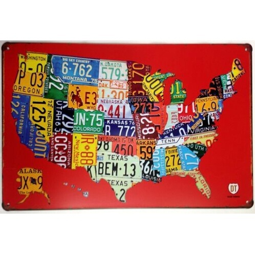 License Plates Us Map Road 66 Retro Vintage Tin Sign 20x30cm In - Us-plates-map