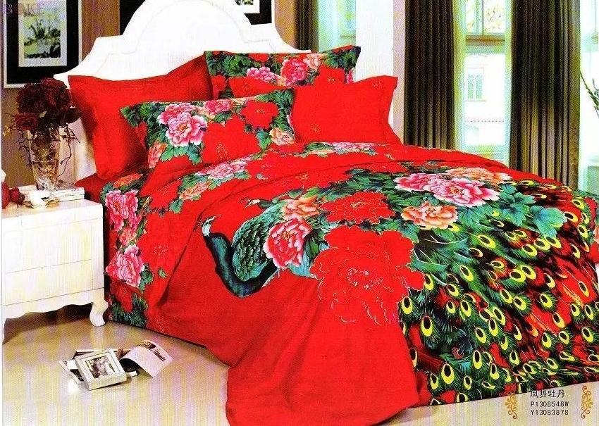 Wonderful 3D Red Floral Peacock Bedding Set King Queen Size Cotton Bedroom Bed Sheets  Quilt Duvet Cover Bedset Bedspreads Bedsheet Linens  In Bedding Sets From  Home ...