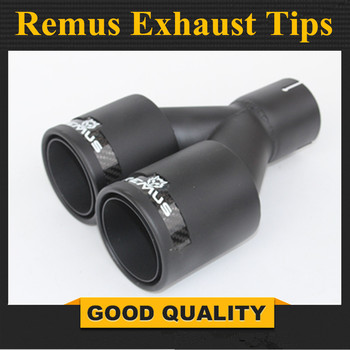 1PCS Dual REMUS carbon fiber + Stainless Steel exhaust tip exhaust pipe muffler Matt Black Exhaust Tip