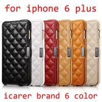 Для iPhone 6 Plus 5.5 реальные оригинальные ICarer бренд натуральной микрофибры проверить с открытыми боками кожаный чехол телефона чехол для iPhone 6 plus