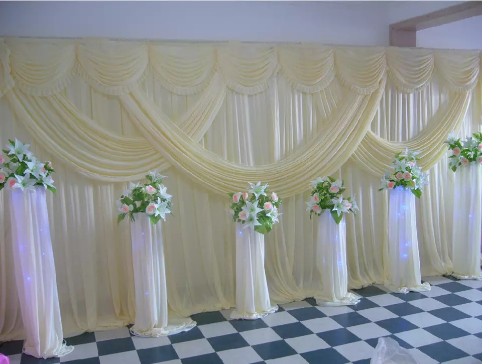 Express free hotsale ivory pink wedding stage backdrop for Background curtain decoration