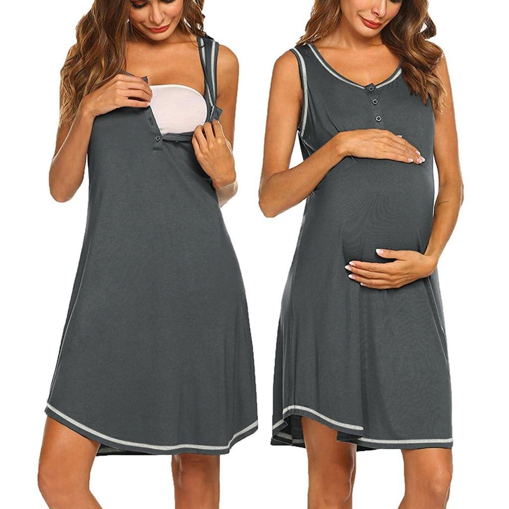 Maternity Dress Women's Maternity Sleeveless Casual Button Up Nursing Dresses For Breastfeeding Casual Pregnant Dress Summer @30
