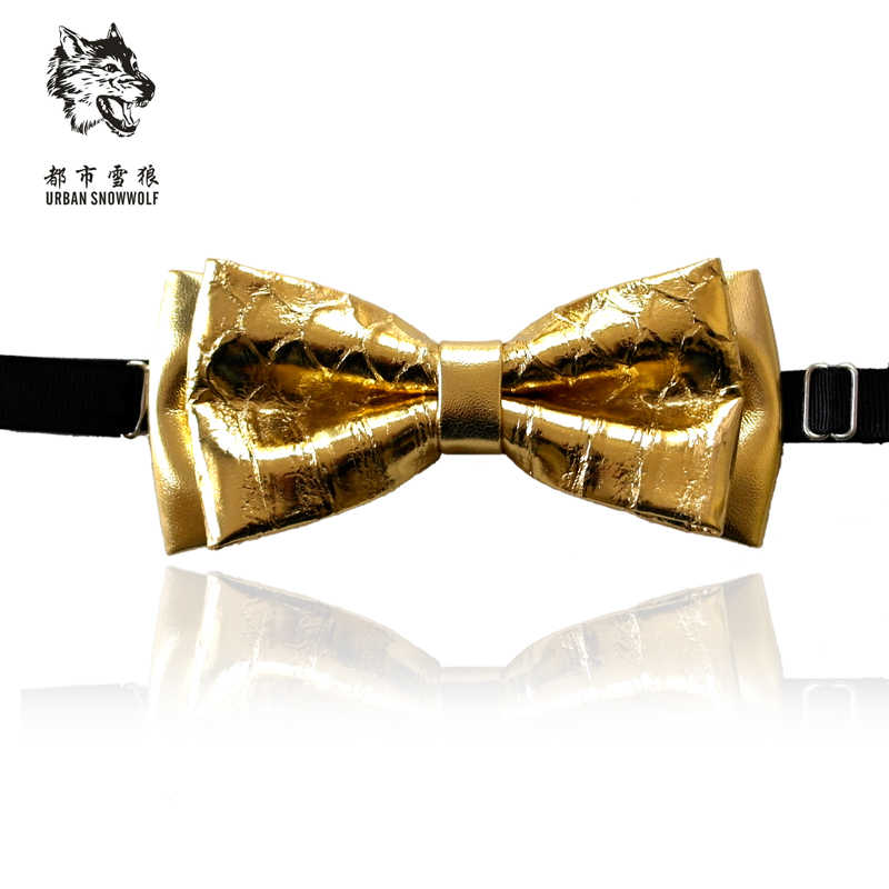 d09595e838a7 Free Shipping New man's fashion male casual Serpentine Leather Collar Bow  Tie Wedding Gold Silver Korean