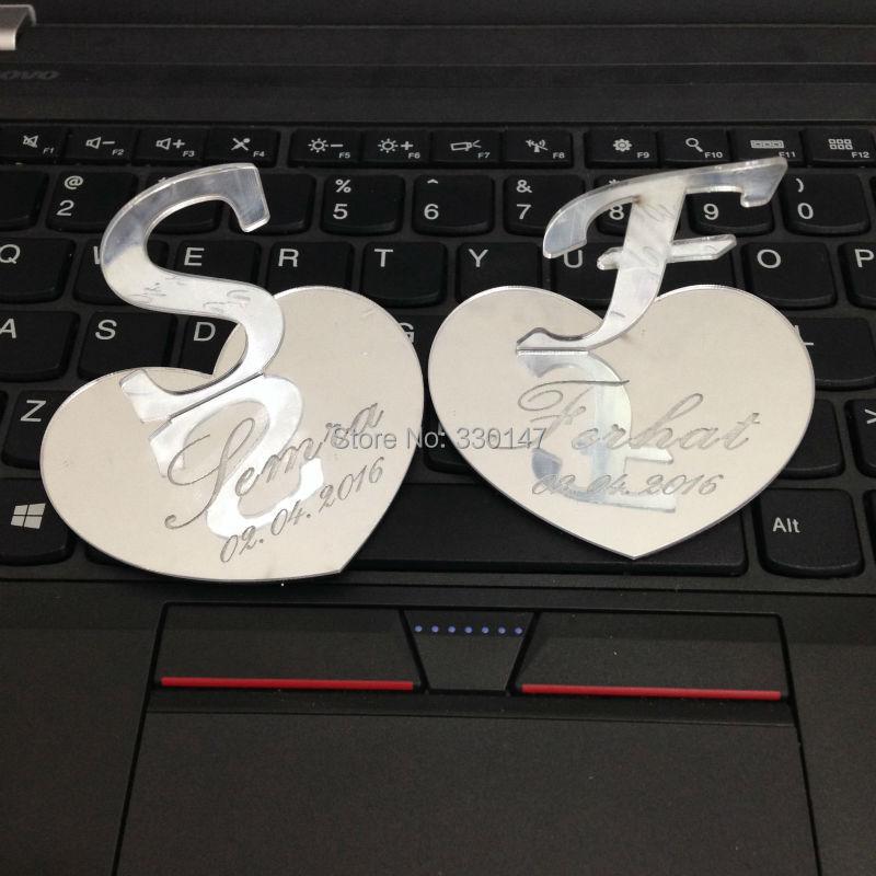 2pcs / σετ 7x6cm Καρδιά σχήμα Tchotchkes Mirrored στολίδι ON STAND Γάμος εξατομικευμένες Custom Boutique δώρων και ευνοιών Αρχική διακόσμηση