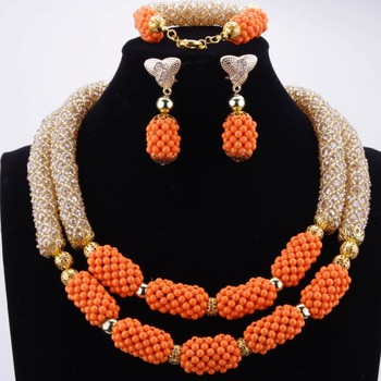 4UJewelry Bridal Jewelry Sets Gold Color Orange Crystal Acrylic African beads Jewelry Sets For Brides Women Balls Free Shipping