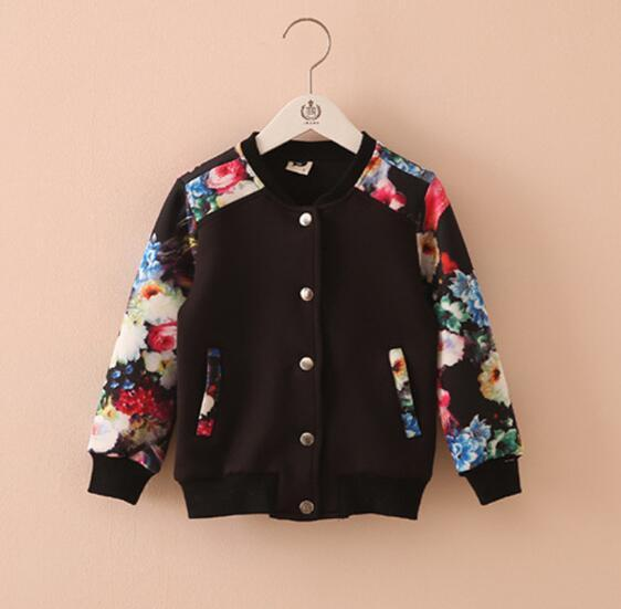 2018, детская одежда пальто для девочек цветочный Длинные рукава для маленьких девочек кардиган спортивные пальто для девочек детская бейсбольная Топы