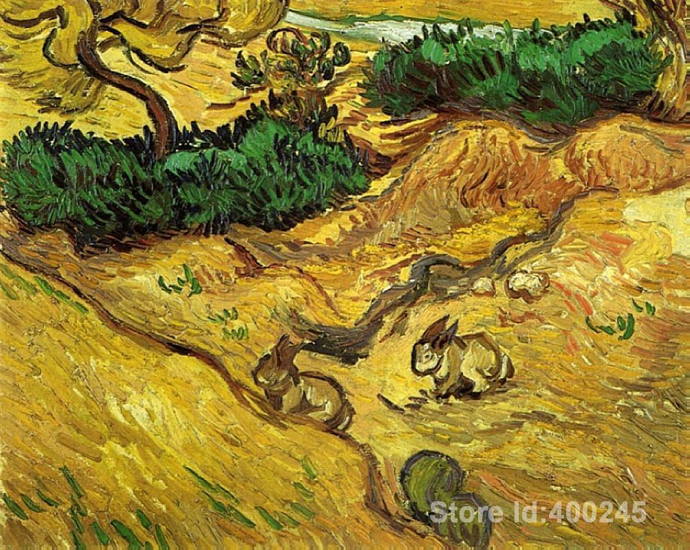 Best Книги по искусству воспроизведение поля с двумя Кролики Винсент Ван Гог живопись для продажи ручная роспись высокое качество