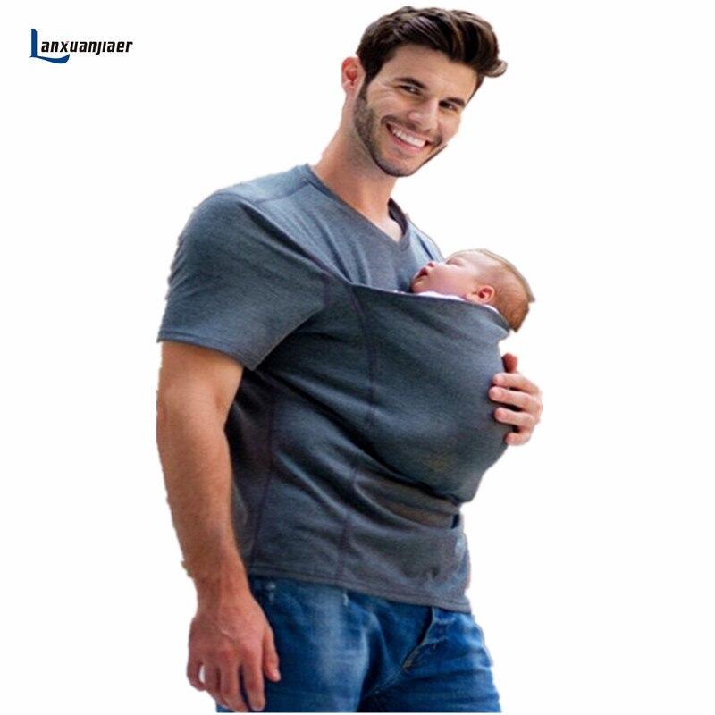 Lanxuanjiaer maternidad camiseta embarazo ropa para mujeres embarazadas canguro multifunción Tops mamá papá ropa al aire libre