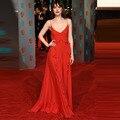 Sexy Espagueti de La Gasa Roja Vestidos de Baile Inspirado Por Dakota Johnson Prom Vestidos 2016 Vestidos de Fiesta Formales Premios Grammy