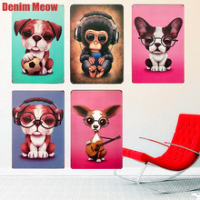 New Style Animal Shabby Chic Metal Tin Signs Bar Cafe Decorative Plates Pug Wall Stickers Dog Monkey Art Posters Home Decor N259