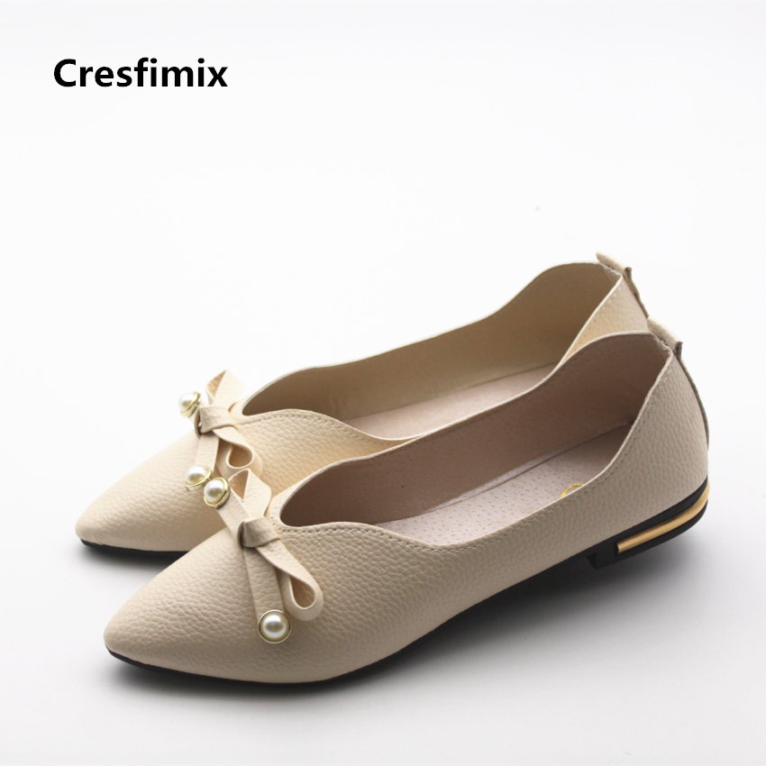 Cresfimix zapatos de mujer women casual soft pu leather summer slip on flat shoes female fashion cute spring comfortable shoes cresfimix women cute black floral lace up shoes female soft and comfortable spring shoes lady cool summer flat shoes zapatos