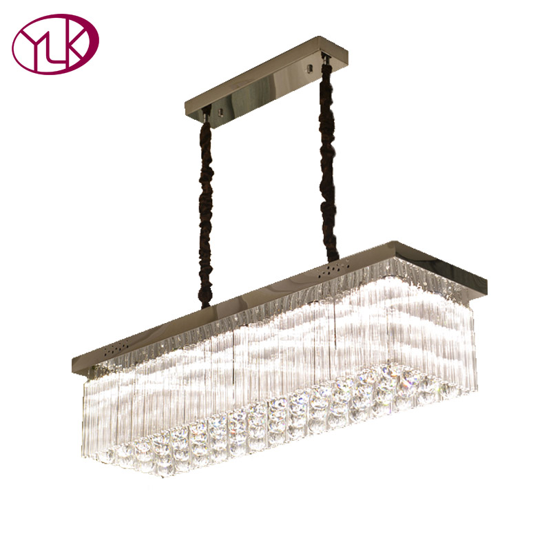 Youlaike Luxury Modern Crystal Chandelier For Dining Room Rectangle Kitchen Island Hanging Crystal Lamps