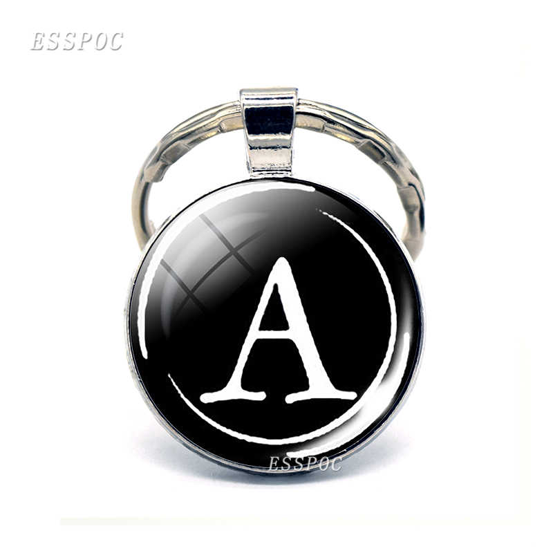 Простой стиль 26 букв печати личности именной брелок для ключей ручной работы Diy сумка кулон Мода брелок держатель