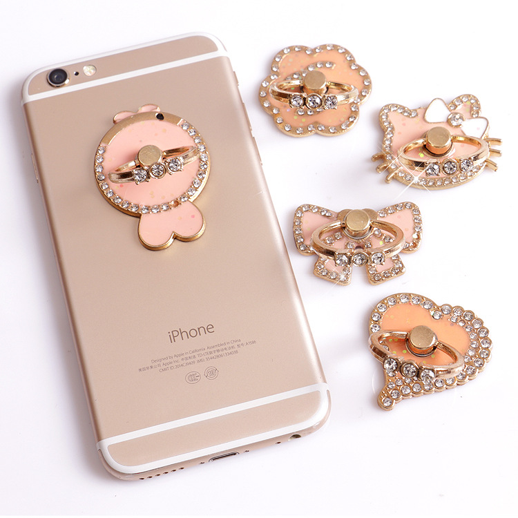 New 360 Degree Finger Crystal Diamond Ring Cute Heart Bow Mobile Phone Smartphone Stand Holder For All Smart Phone Luxury Rings