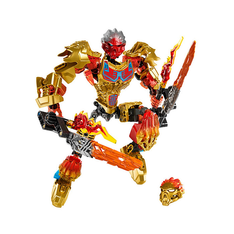 XSZ 611-1 Biochemical Warrior 71308 BionicleMask of Light Tahu Fire Building Block Compatible With Legoings Bionicle Toys