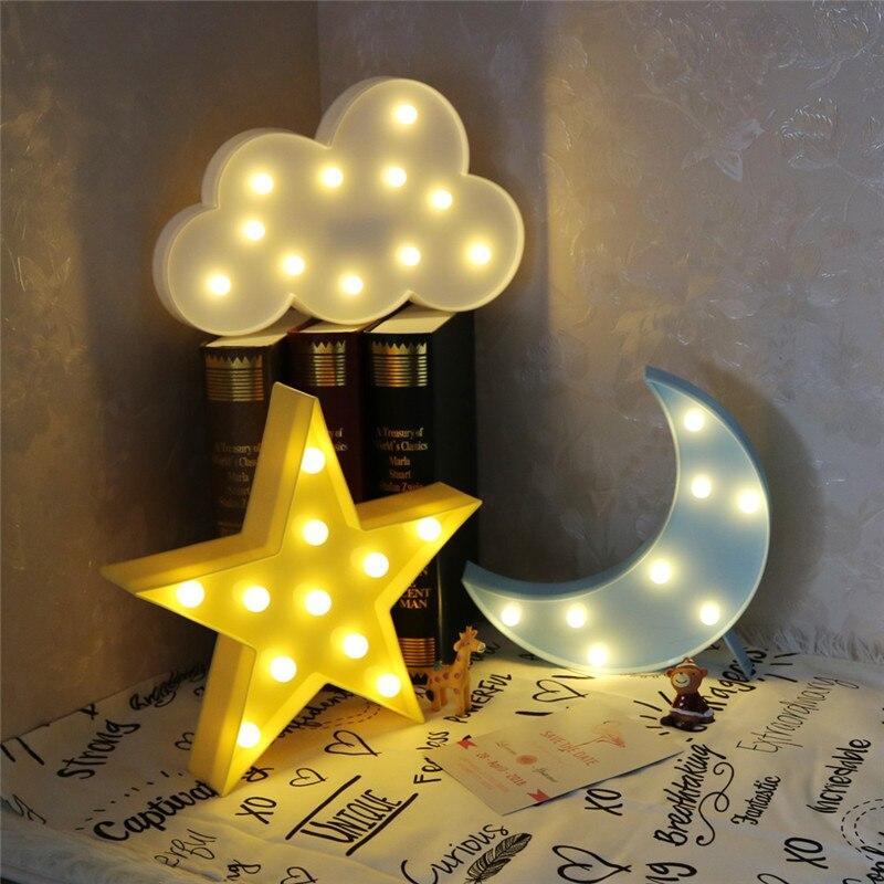 جميل سحابة نجمة القمر LED ثلاثية الأبعاد ضوء الليل ضوء الاطفال هدية لعبة للطفل الأطفال غرفة نوم Tolilet مصباح الديكور إضاءة داخلية